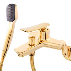 골드 수전 샤워기 수도꼭지 욕실 벽면설치 (D8-600C G 투홀)
