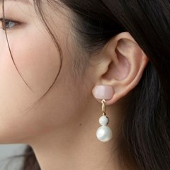 baby pink mix ball earrings