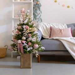 DIY 호텔식 핑크로즈 크리스마스 중형 트리 세트 75cm 9_(1505102)