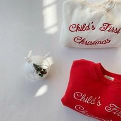 고) 크리스마스 자수 아동 맨투맨