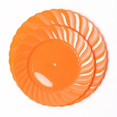 칼라 파티접시 라운드 23cm-오렌지(6입)
