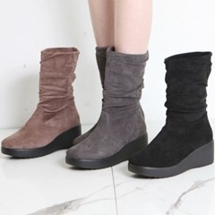 kami et muse Shirring suede wedge boots_KM19w168