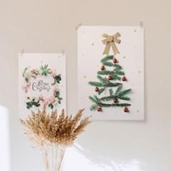 크리스마스 패브릭 트리 액자 _  눈꽃트리 와 눈꽃리스
