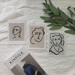 앙리 마티스 드로잉 포스터 그림 엽서 3종세트 [13x18cm]