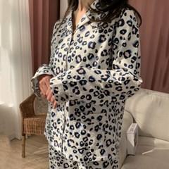 크리미 호피 기모면 겨울 잠옷 파자마세트