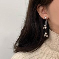 [귀찌가능] 진주 낙엽모양 투웨이 드롭 귀걸이