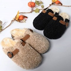 kami et muse Tandy boucle fur belted slippers_KM19w171