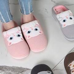 kami et muse White cats fur slippers_KM19w180