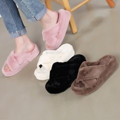kami et muse Cross strap platform fur slippers_KM19w183