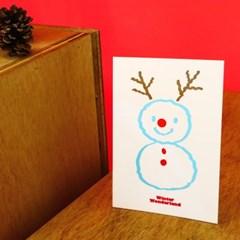 구름 눈사람 크리스마스 레터프레스 엽서