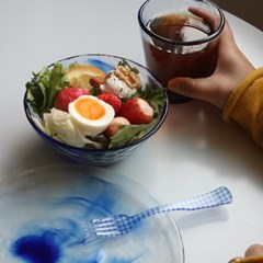 블루 드리핑 글라스 컵 & 플레이트