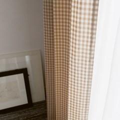 [바이아미] 베이지 체크 커튼 (1cm)
