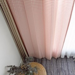 [바이아미] 핑크 체크 커튼 (1cm)