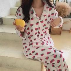 딸기 극세사 수면 잠옷 세트
