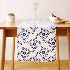 블루 플라워 테이블 러너 1개
