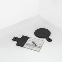 [모노뜨] 시리 대리석 원형 핸들도마 (블랙)