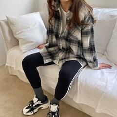 슈크림 기모 루즈핏 체크 셔츠