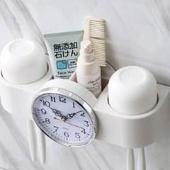 화이트 욕실 시계 칫솔홀더 1개