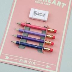 흑심 핑크미니연필세트(연필각인)