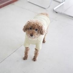 파인 니트 하이넥 스웨터(크림)