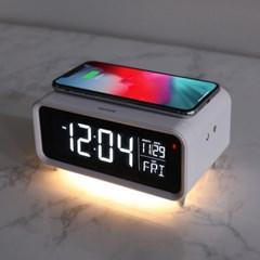 무아스 무소음 LED탁상시계 무선충전 무드등 날짜 MC-W4