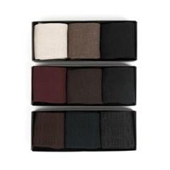 GLEN CHECK DRESS SOCKS SET (brown/navy/black)