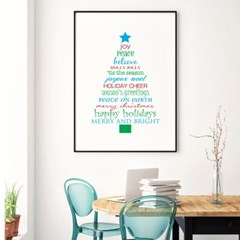 패브릭 캔버스 크리스마스 거실 그림 인테리어 액자_해피