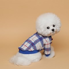 [mungmoong] 컬러 체크 스웨트 셔츠 블루