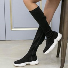 kami et muse White outsole suede long boots_KM19w218