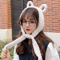 슈크림 귀여운 토끼귀 퍼 귀달이 모자_(2307383)