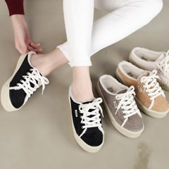 kami et muse Courduroy fur backless sneakers_KM19w223