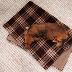 BROWN CHECK FUR BLANKET