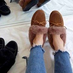 kami et muse Rich fur trimming moccasin_KM19w228