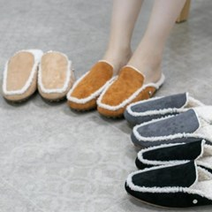 kami et muse White fur inside & trimming slippers_KM19w231