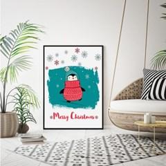 패브릭 캔버스 크리스마스 거실 그림 인테리어 액자_펭귄B