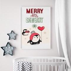 패브릭 캔버스 크리스마스 거실 그림 인테리어 액자_펭귄A