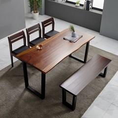 [리코베로] 로사 장미나무 원목 우드슬랩 6인용 식탁세트