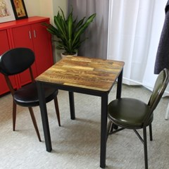 멀바우 빈티지 카페 2인용 600 테이블 식탁 세트