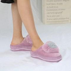kami et muse Double heart platform fur slippers_KM19w246