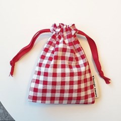 vintage check string pouch_레드