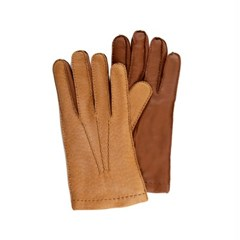Peccary Leather Gloves For men_Tobacco