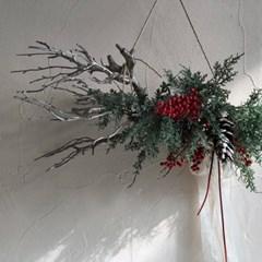 [조화] 크리스마스 멋스러운 우드 그린 가랜드