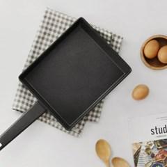 키친아트 심플 블랙 사각 프라이팬 23cm