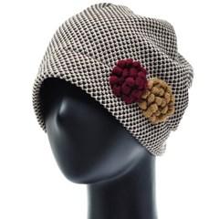 [플릭앤플록]RSS07.꽃장식 벌집니트 여성 비니 엄마 모자