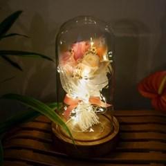 프리저브드 꽃 유리돔(피치)