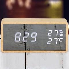 텐교 무소음 LED 천연원목 디지털시계 크리스탈 우드클락