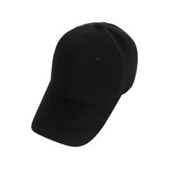 모직 사이드 라벨 오버핏 볼캡 블랙