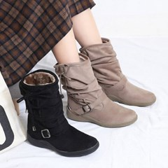 kami et muse Shirring suede fur boots_KM19w263
