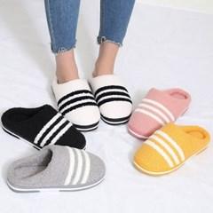 kami et muse White stripe fur slippers_KM19w262