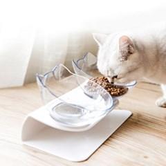 힐링타임 고양이 더블식기 (투명, NH-366)